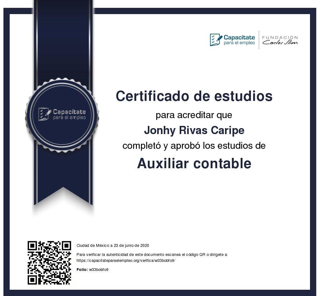 Pin de Jonhy Rivas Caripe en certificado