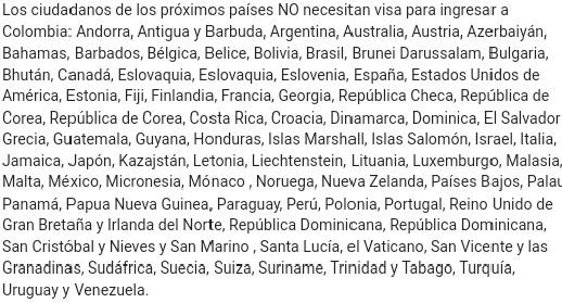 Países que no necesitan visa