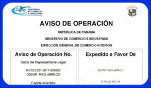 Aviso de operación de una empresa