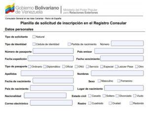 Descargue la hoja de registro consular venezolana en Perú
