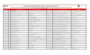 Registro de proveedores de la empresa mexicana