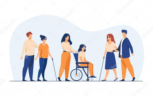 Voluntarios que ayudan a amigos discapacitados a salir al aire libre, Vector Free