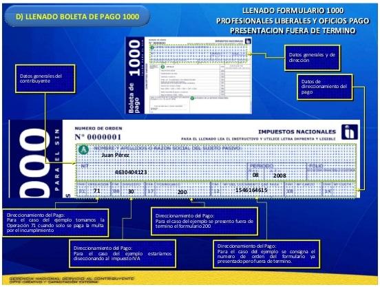 Complete el formulario de boleto de pago 1000
