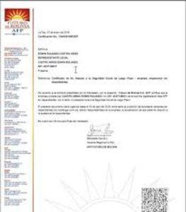 Este es el certificado de no vencimiento